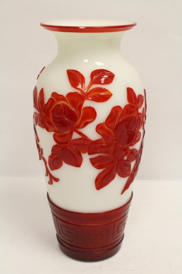 Pair red overlay Peking glass vases - 7
