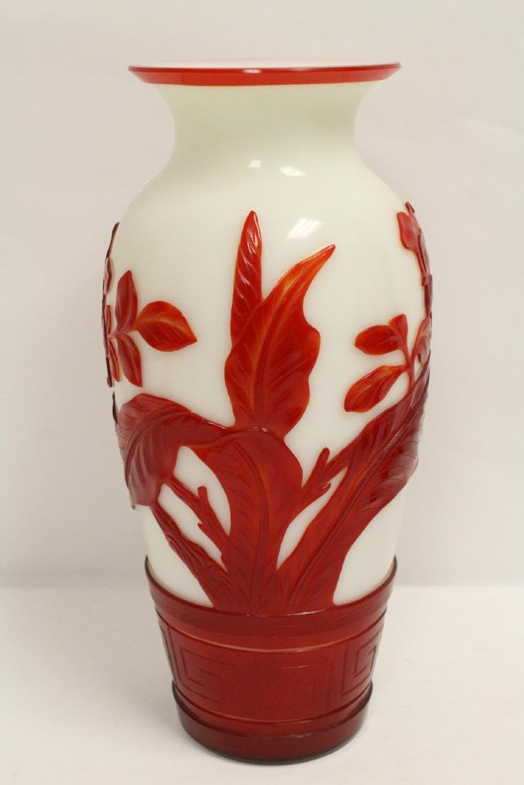 Pair red overlay Peking glass vases - 8