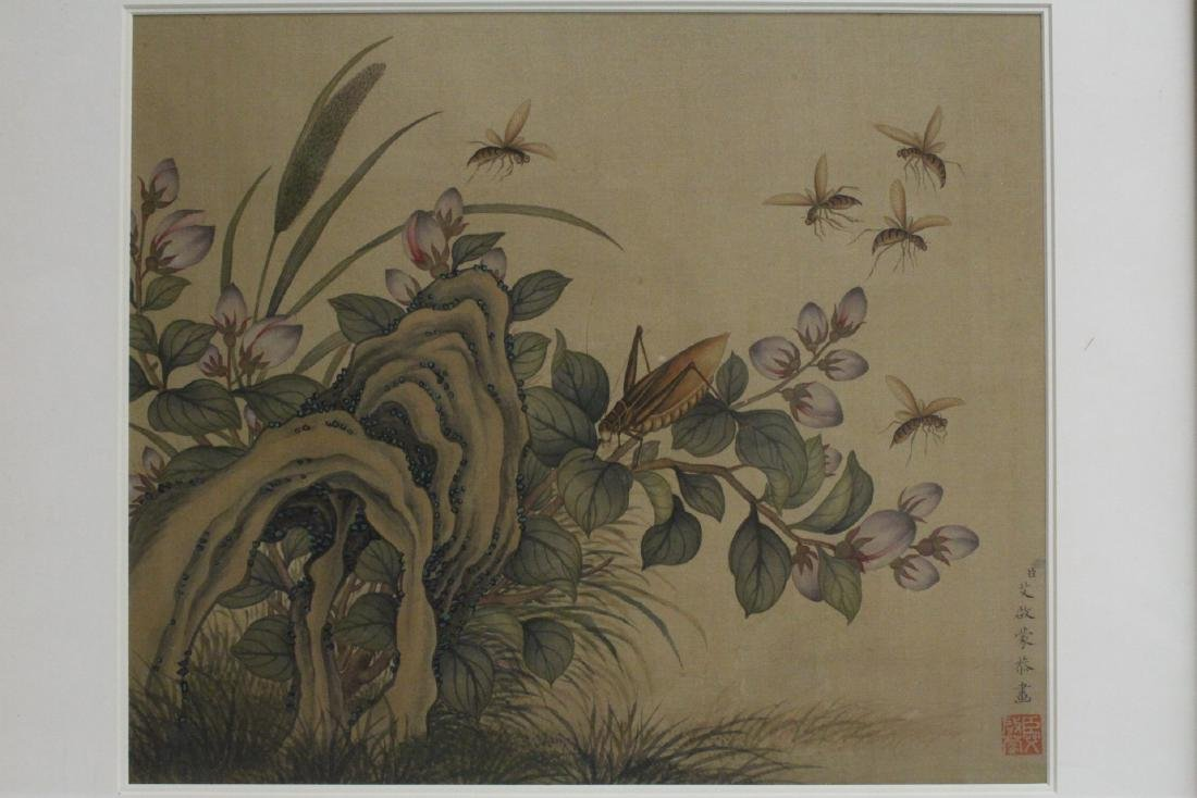 Chinese framed watercolor on silk panel