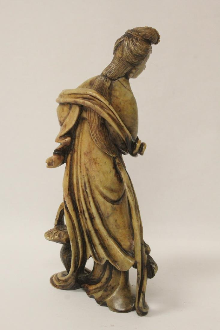 Chinese antique shoushan stone carved Guanyin - 3