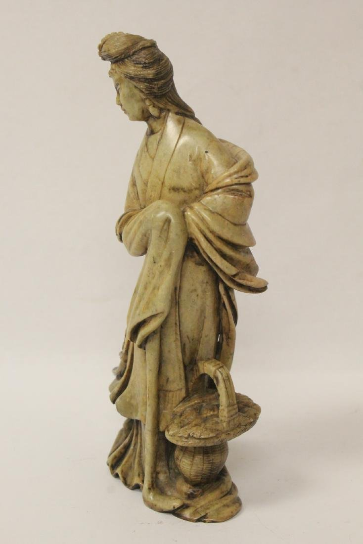 Chinese antique shoushan stone carved Guanyin - 5