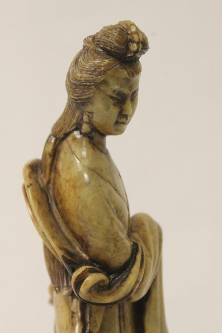 Chinese antique shoushan stone carved Guanyin - 9
