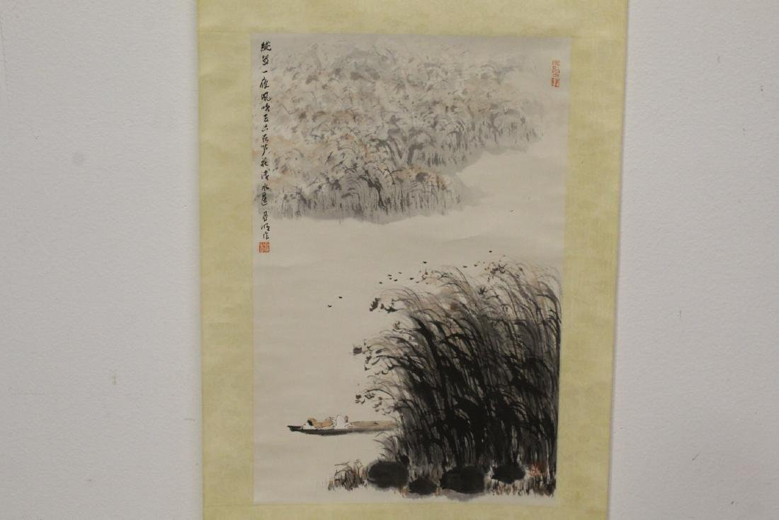 "Watercolor scroll ""lake scene with boat"""