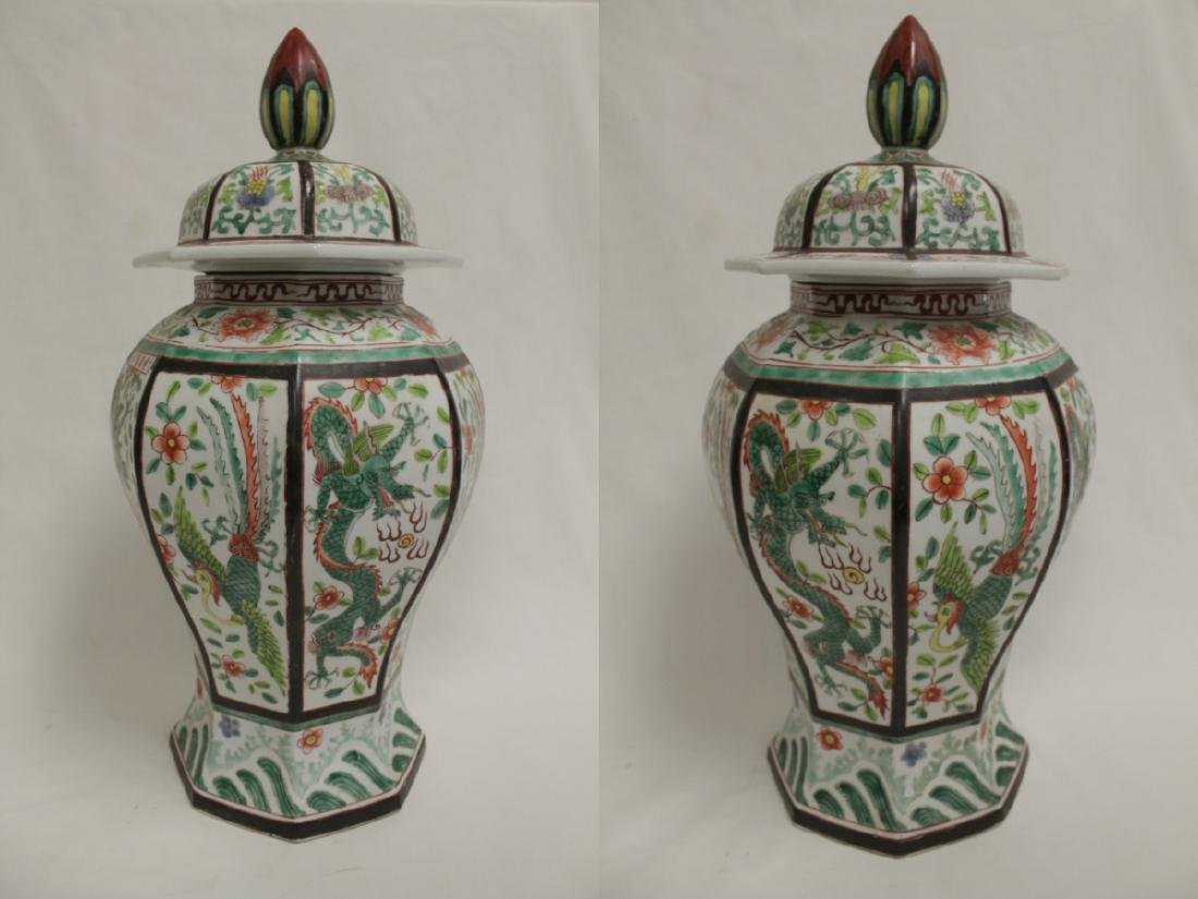 Chinese vintage octagonal famille rose covered jar - 3