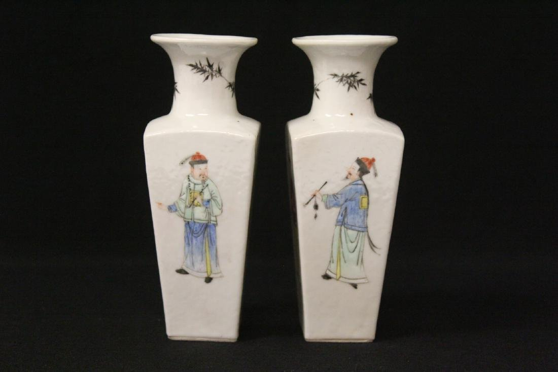 Pr Chinese antique famille rose porcelain vases - 2