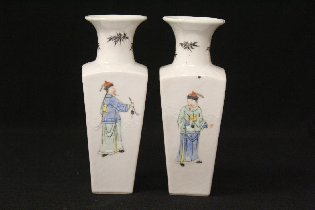 Pr Chinese antique famille rose porcelain vases - 4