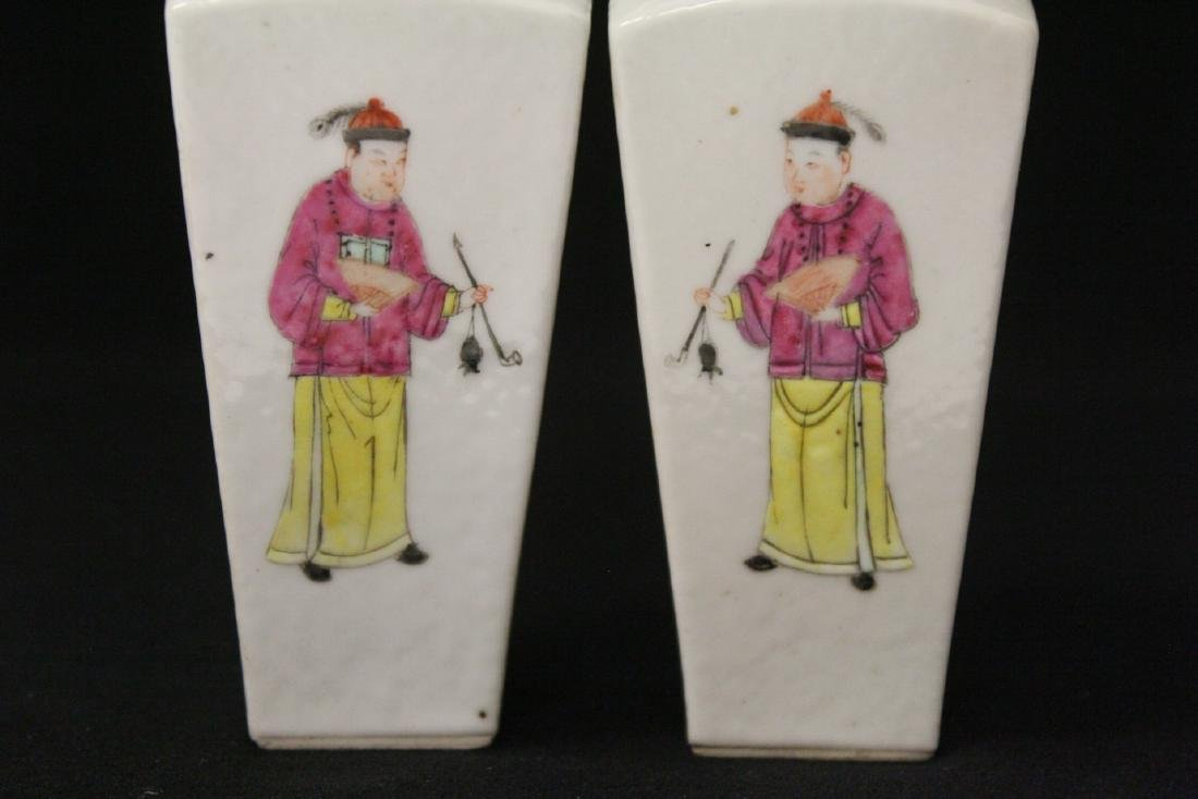 Pr Chinese antique famille rose porcelain vases - 7