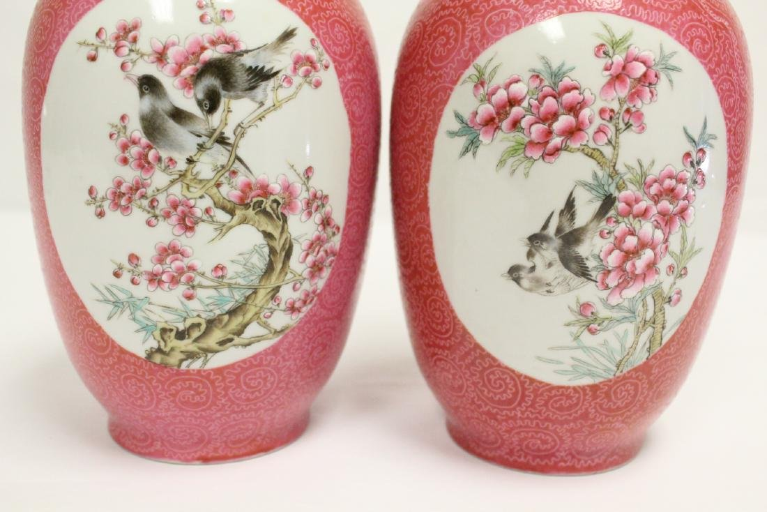 Pr beautiful Chinese famille rose porcelain vases - 10