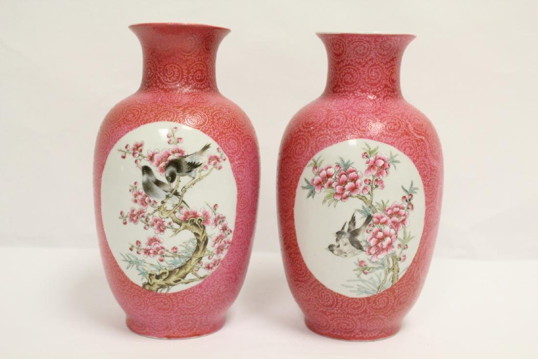 Pr beautiful Chinese famille rose porcelain vases - 3