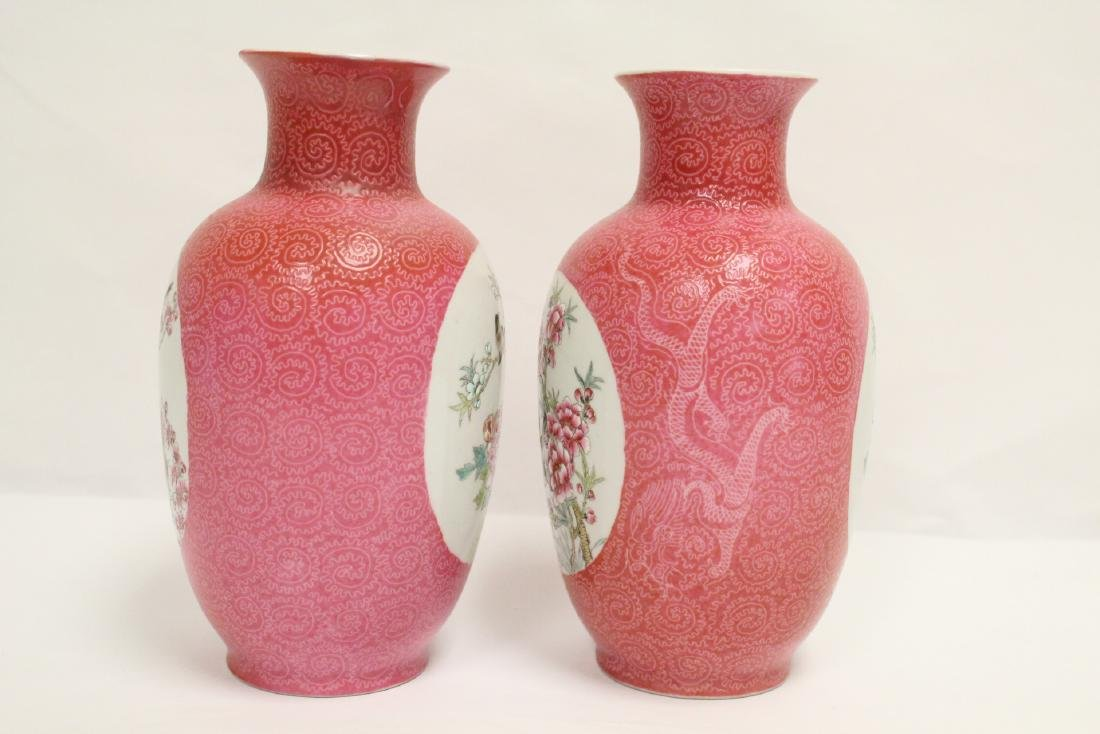 Pr beautiful Chinese famille rose porcelain vases - 4