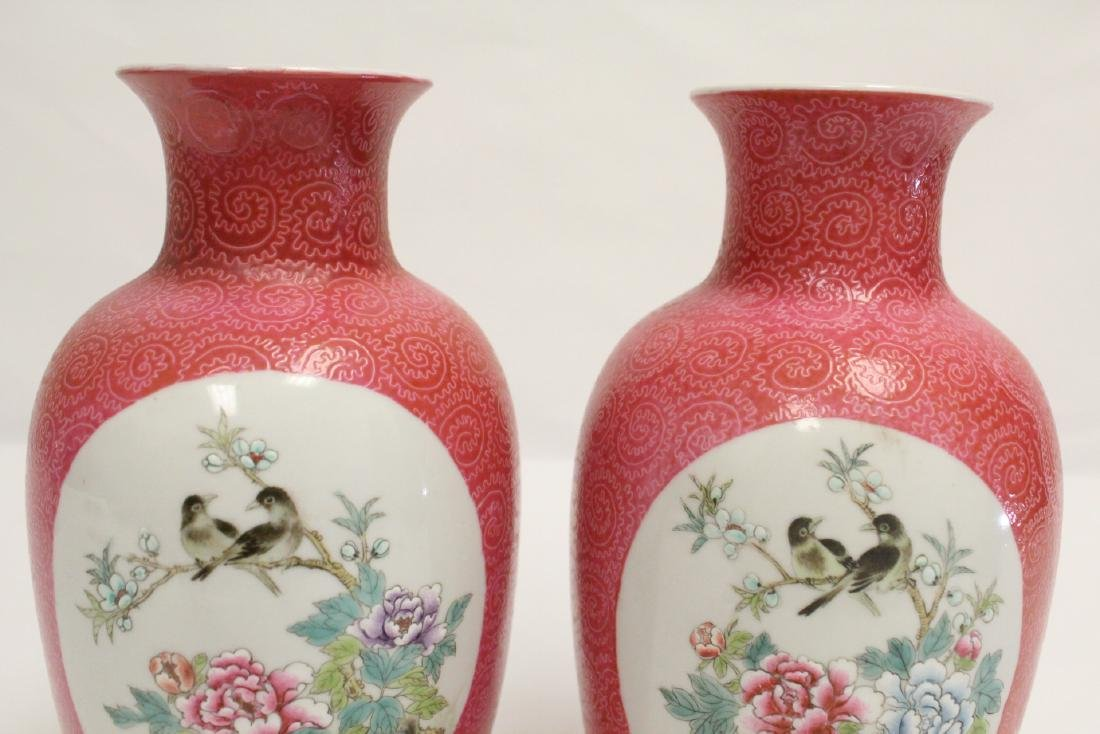 Pr beautiful Chinese famille rose porcelain vases - 6