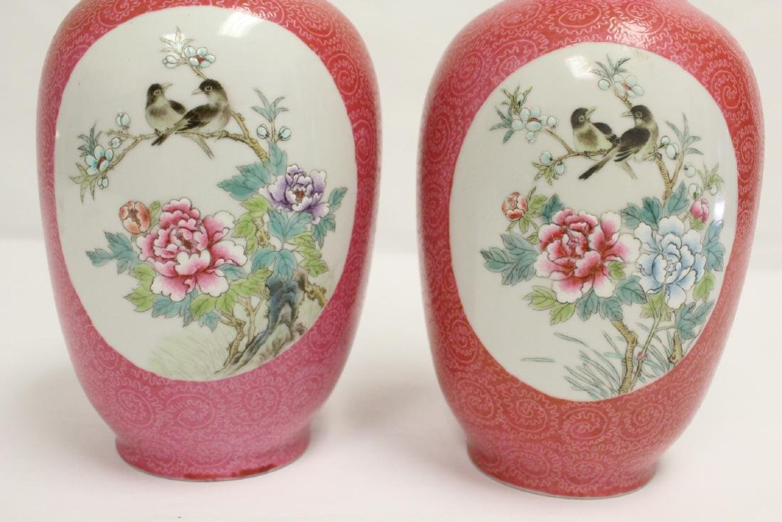Pr beautiful Chinese famille rose porcelain vases - 7