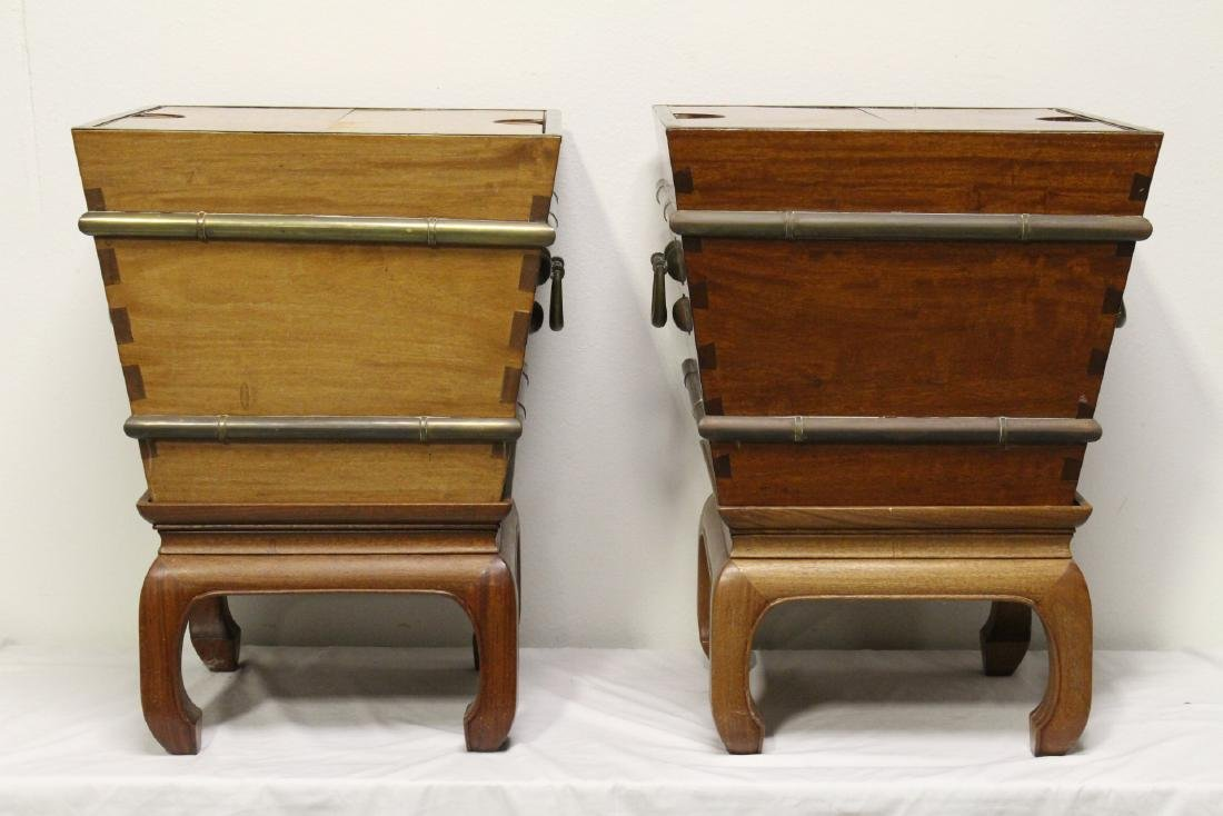 Pr Chinese rosewood rice bucket w/ rosewood stand