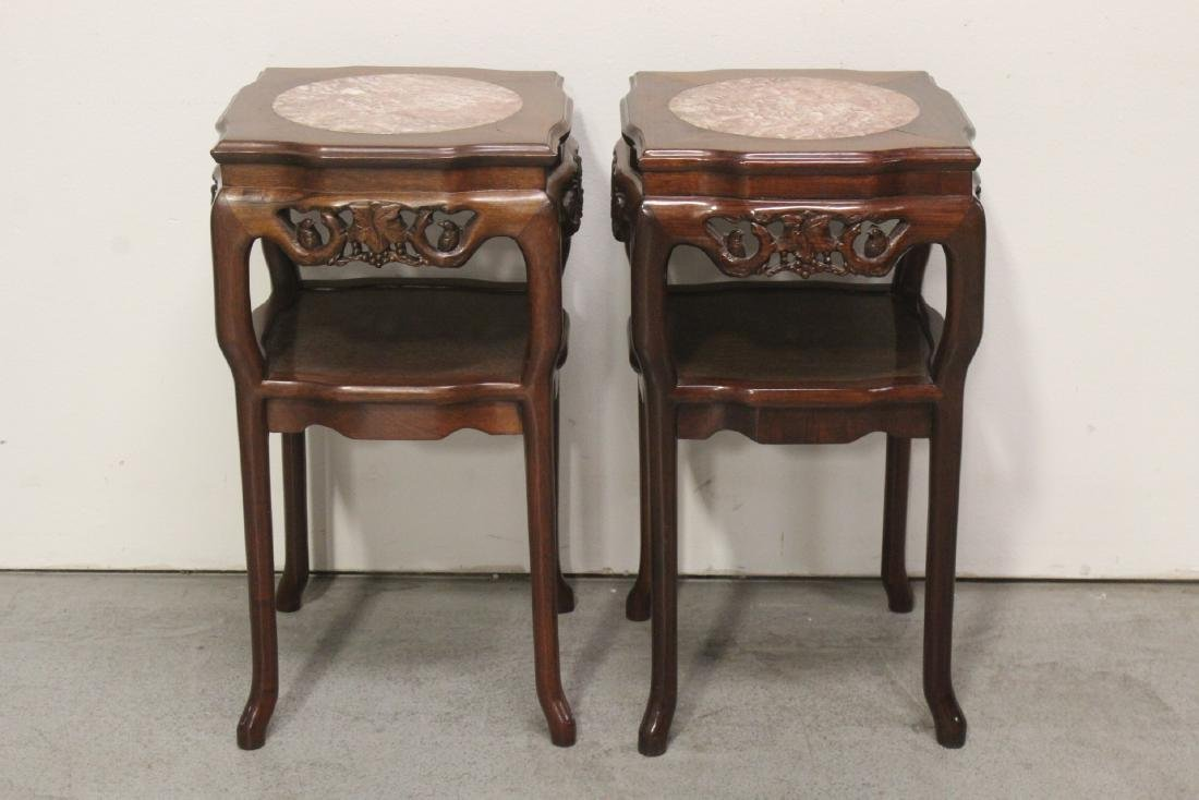 Pair Chinese marble top rosewood side tables