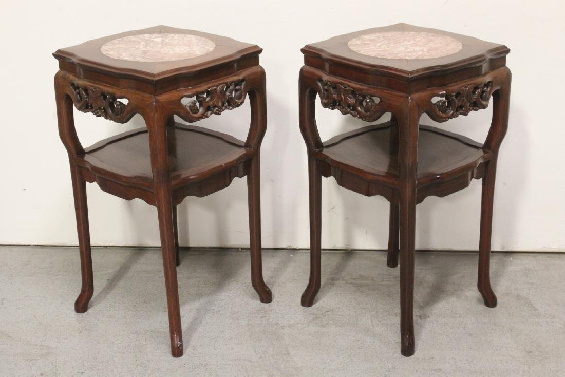 Pair Chinese marble top rosewood side tables - 2