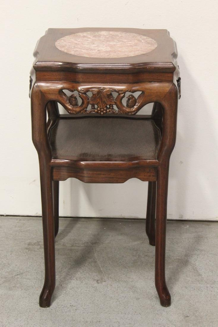 Pair Chinese marble top rosewood side tables - 3