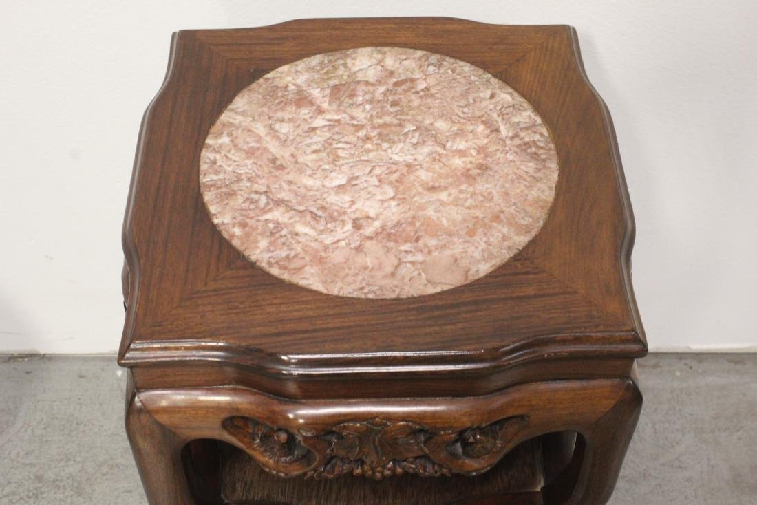 Pair Chinese marble top rosewood side tables - 4