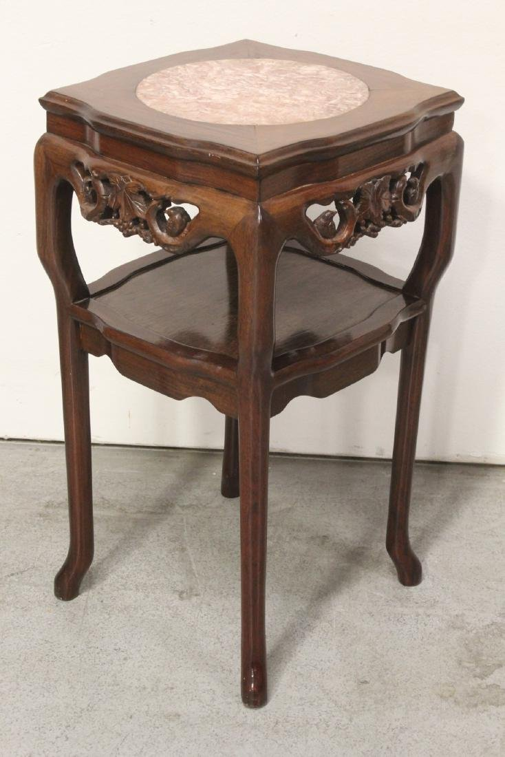 Pair Chinese marble top rosewood side tables - 5