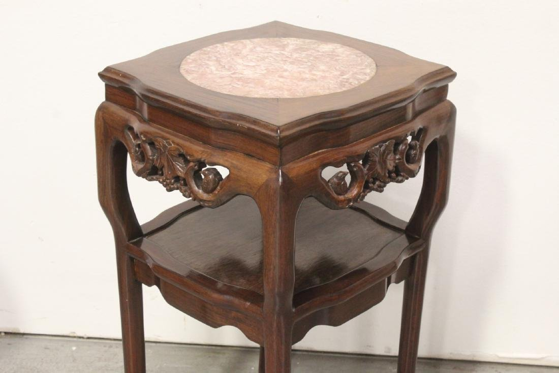 Pair Chinese marble top rosewood side tables - 6