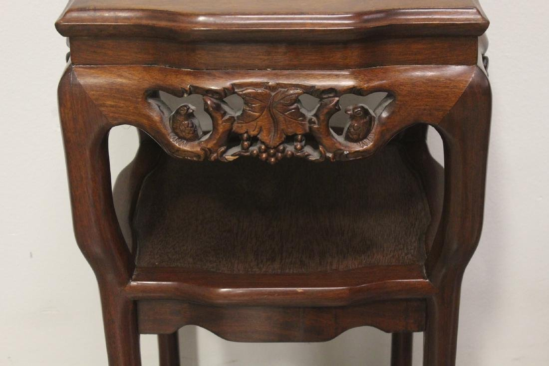 Pair Chinese marble top rosewood side tables - 8