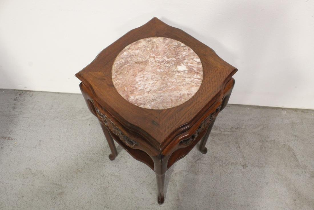 Pair Chinese marble top rosewood side tables - 9