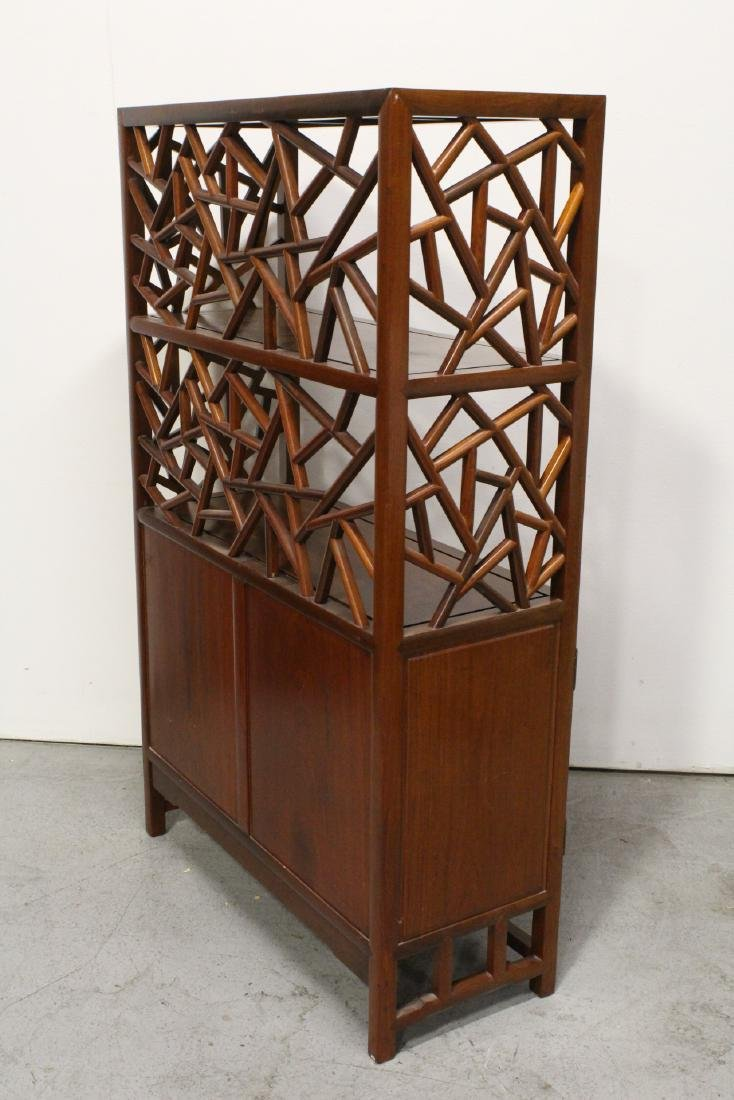 Pair Beautiful Chinese rosewood curio cabinet - 10