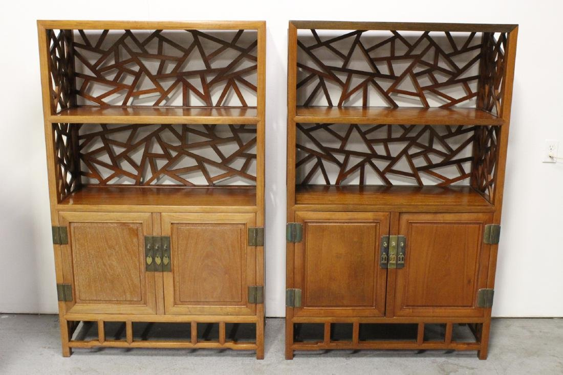 Pair Beautiful Chinese rosewood curio cabinet