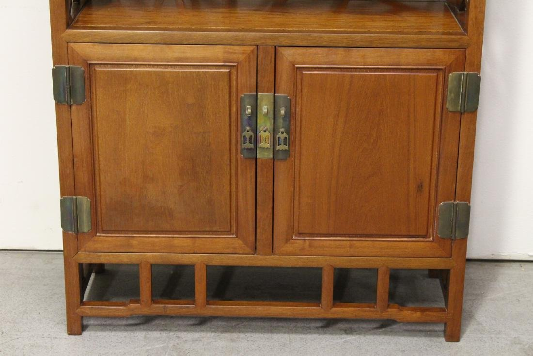 Pair Beautiful Chinese rosewood curio cabinet - 5