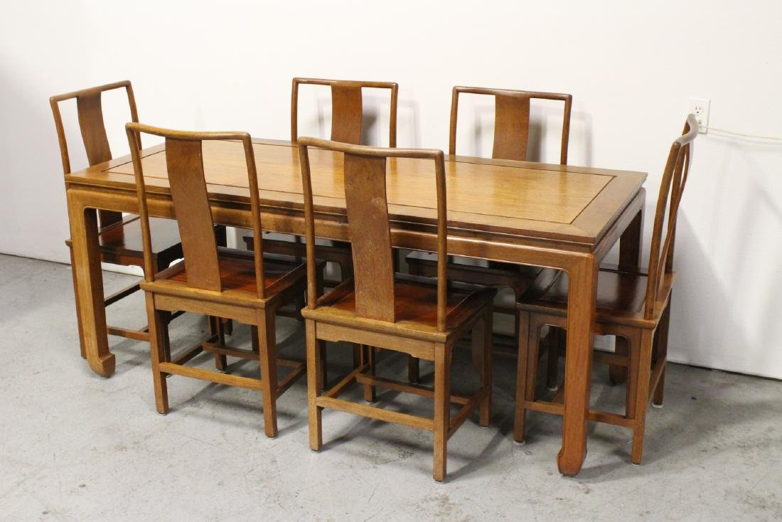 Chinese vintage rosewood dinette table with 6 chairs