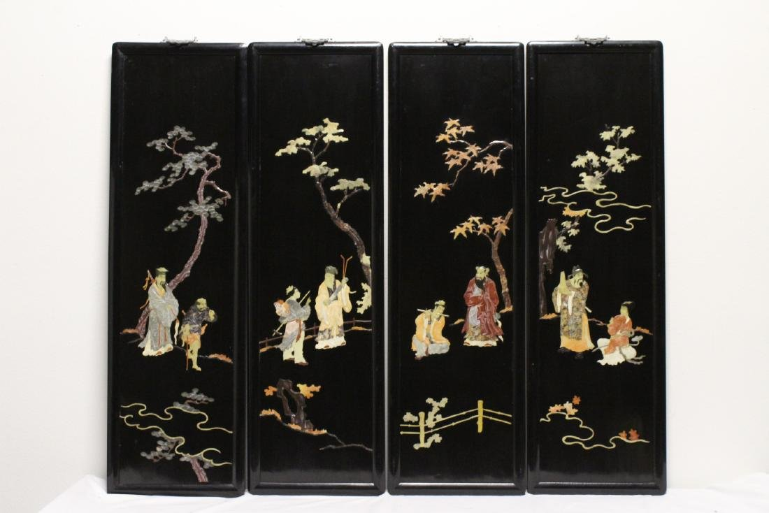 Set of 4 Chinese vintage black lacquer wall plaques