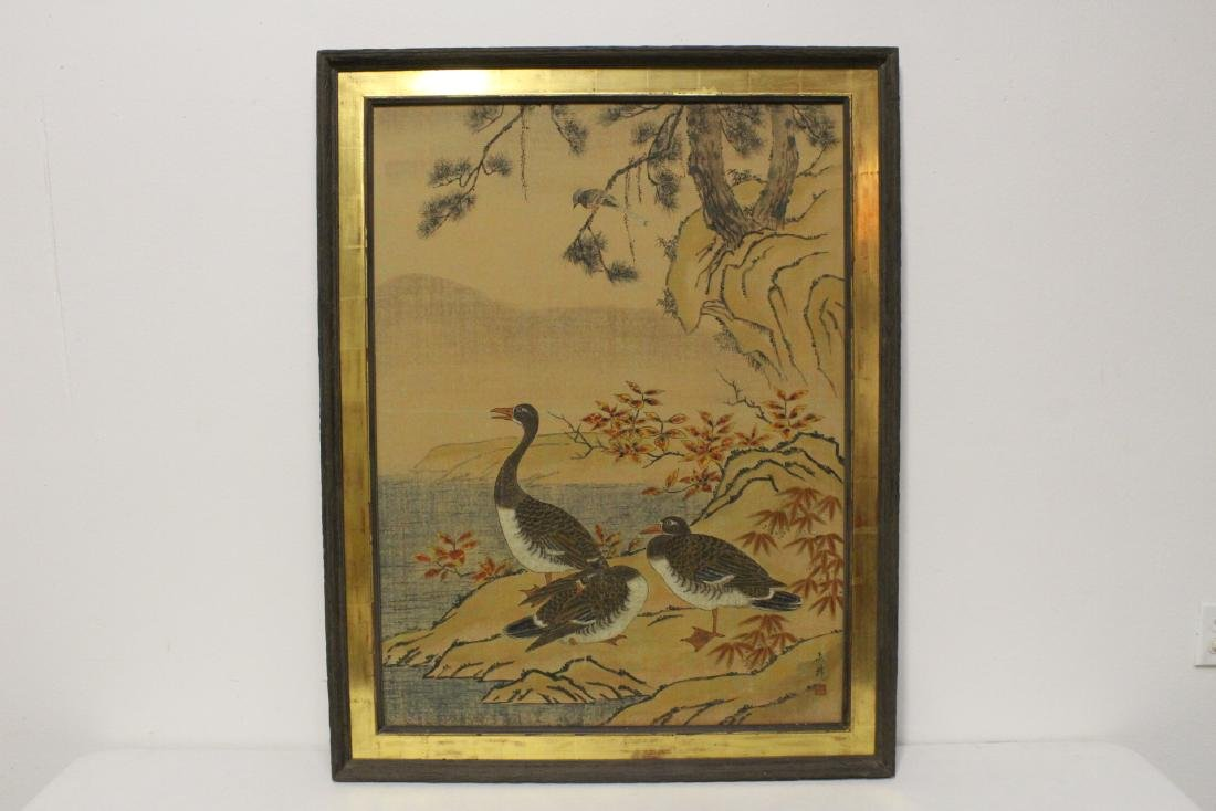 Chinese framed hand colored print