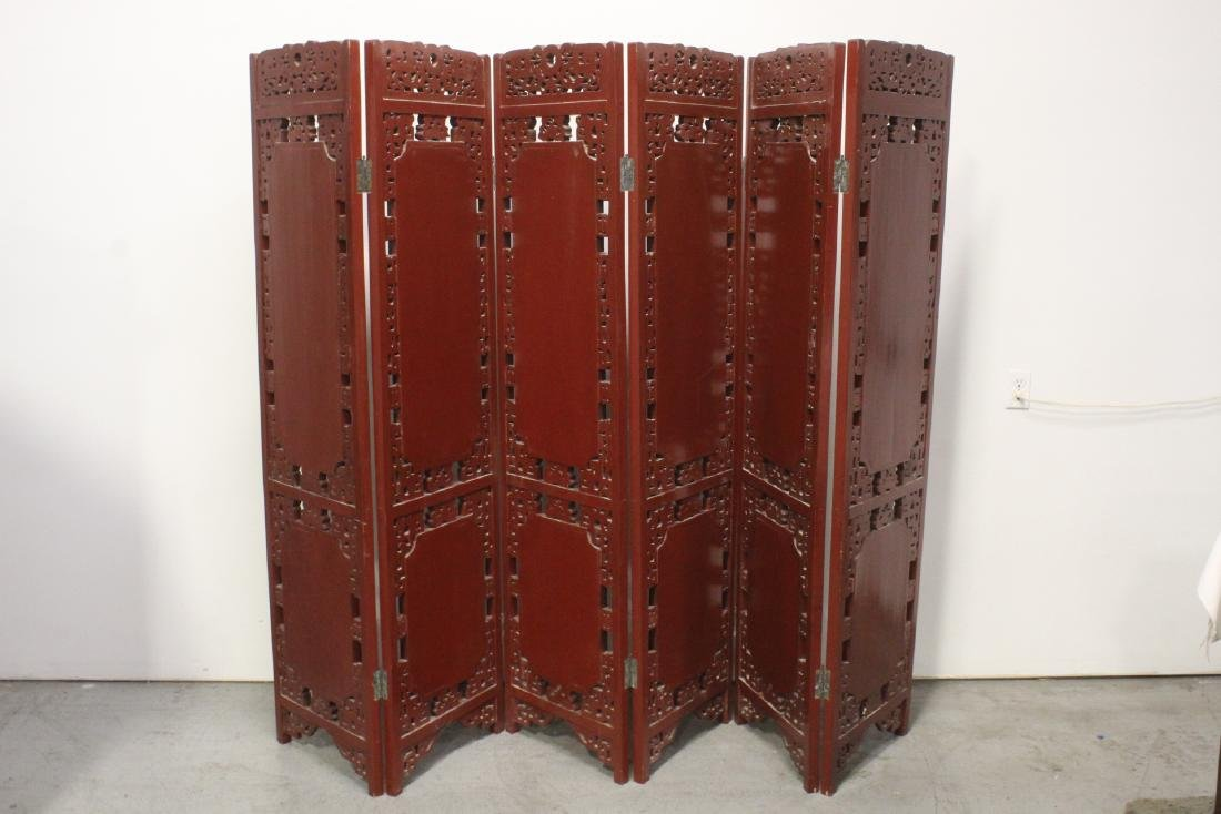 Chinese antique 6-panel painted lacquer room divider - 10
