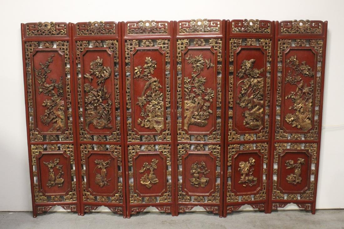 Chinese antique 6-panel painted lacquer room divider