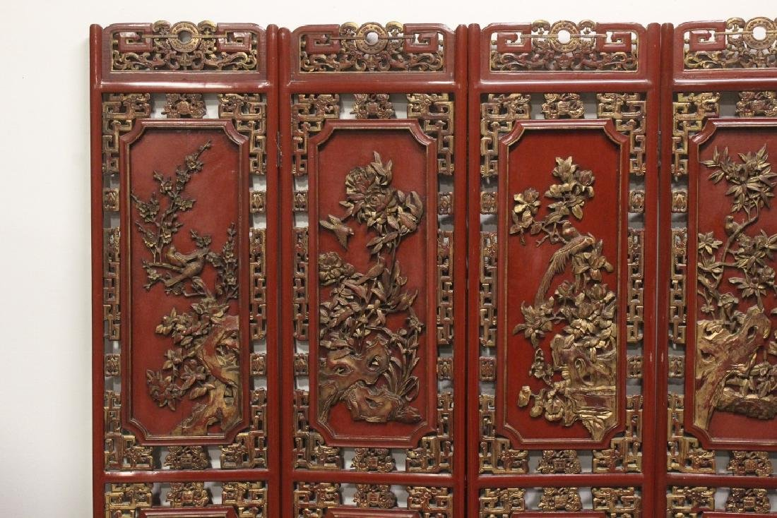 Chinese antique 6-panel painted lacquer room divider - 2