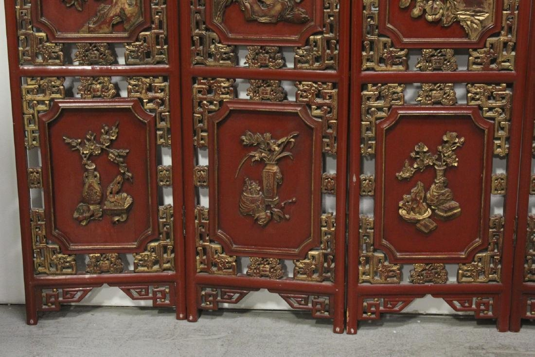 Chinese antique 6-panel painted lacquer room divider - 4