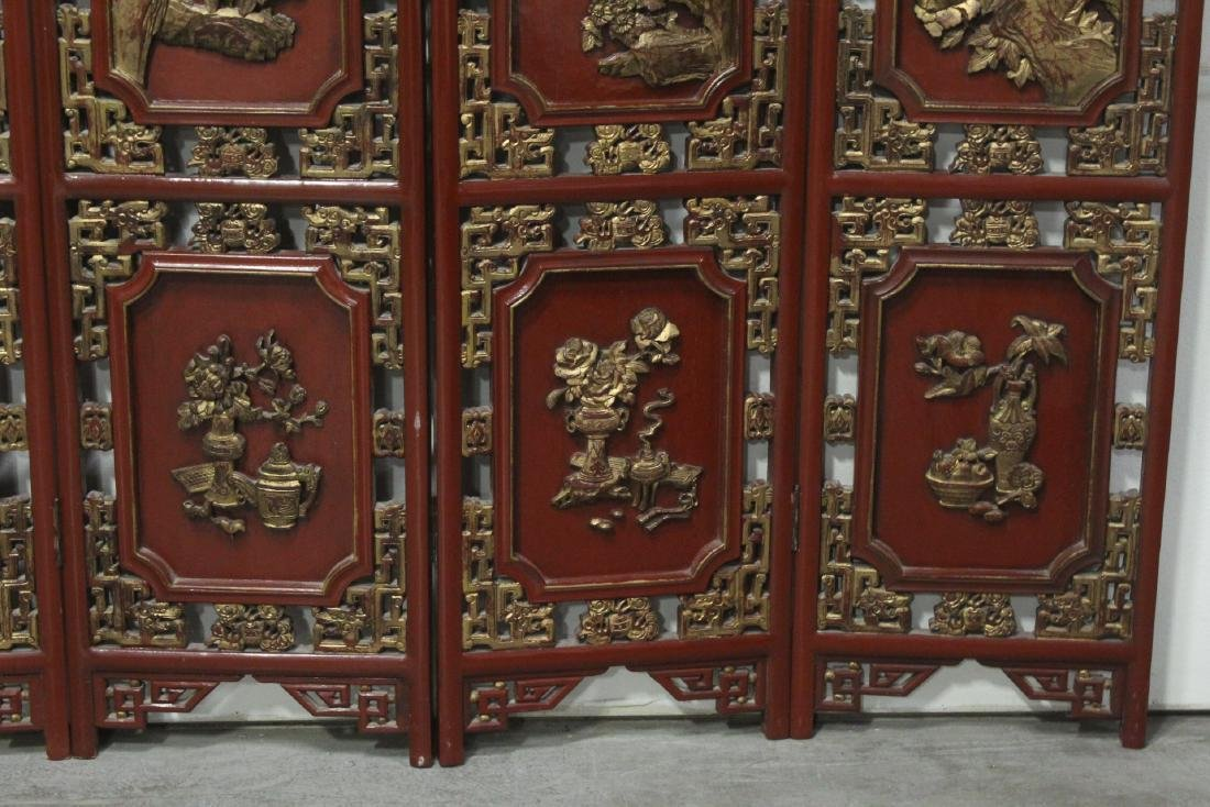 Chinese antique 6-panel painted lacquer room divider - 5