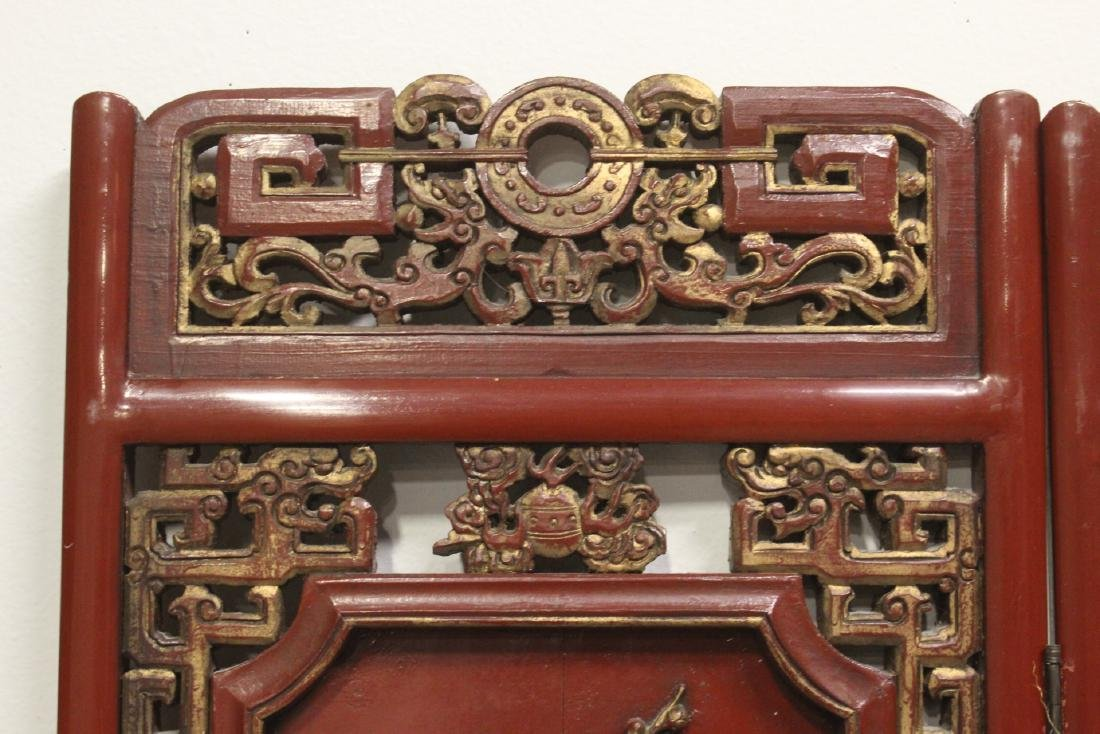 Chinese antique 6-panel painted lacquer room divider - 6