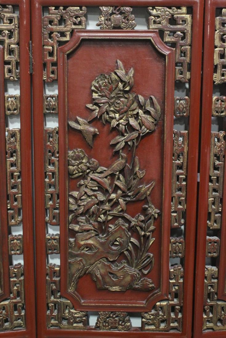 Chinese antique 6-panel painted lacquer room divider - 7
