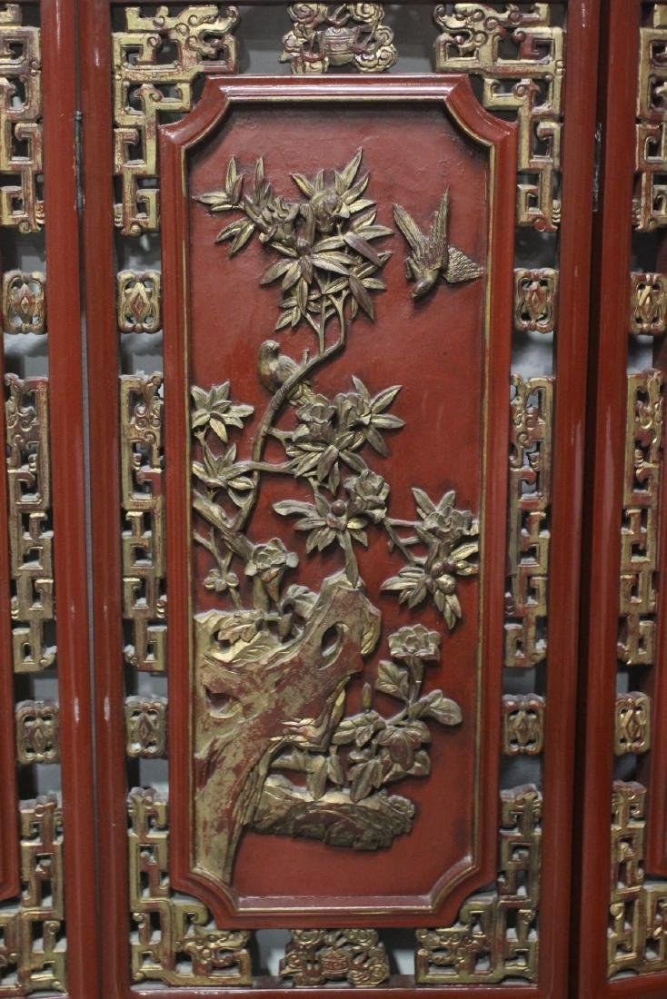 Chinese antique 6-panel painted lacquer room divider - 8