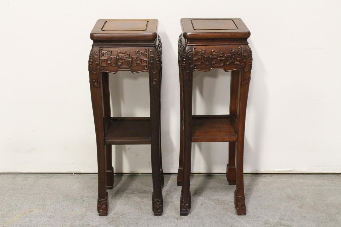Pair rosewood pedestal tables