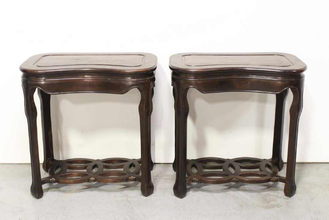 Pair Chinese rosewood kidney shape tables