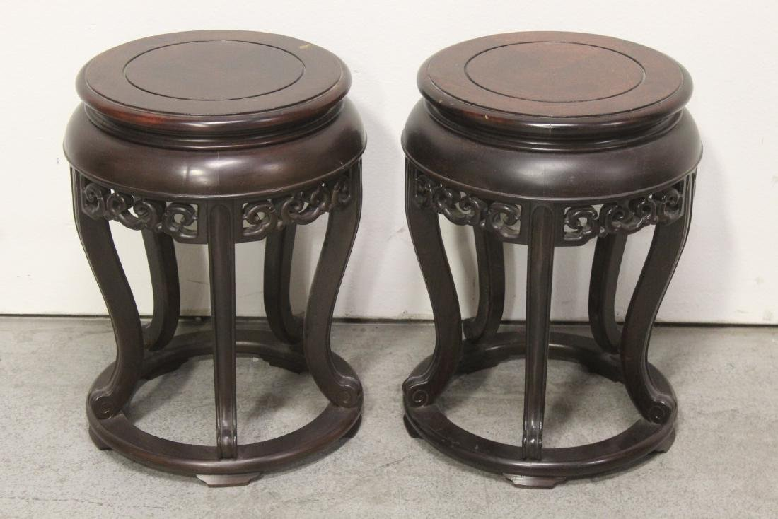 Pair Chinese vintage rosewood pedestals