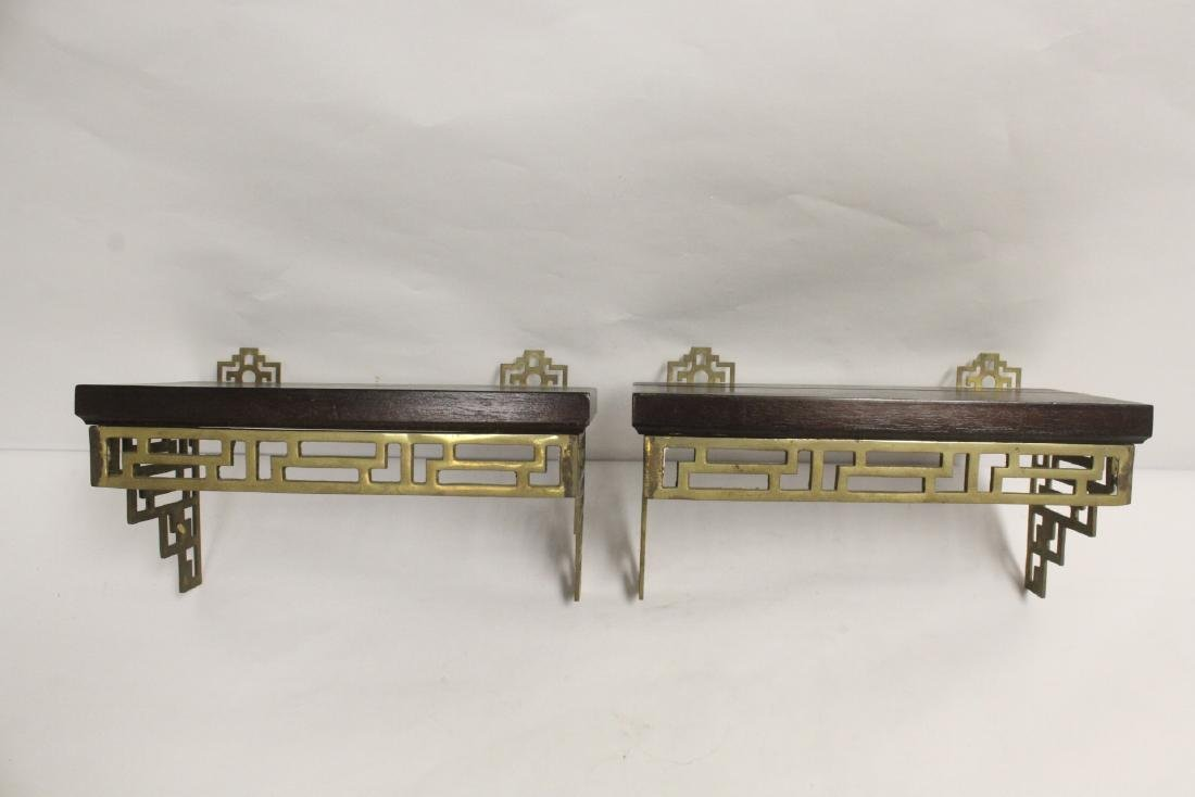 Pair Chinese rosewood and brass wall shelves