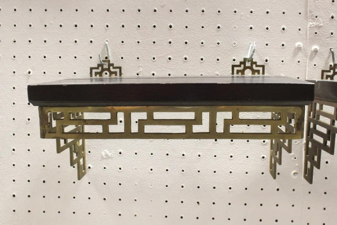 Pair Chinese rosewood and brass wall shelves - 4