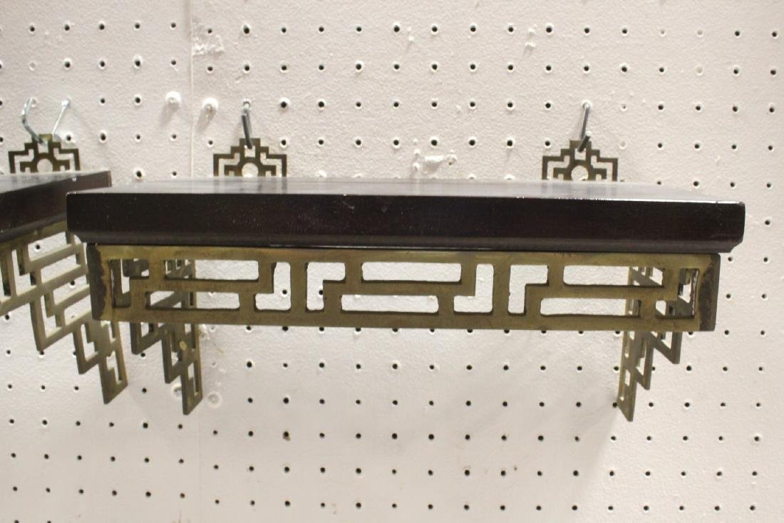 Pair Chinese rosewood and brass wall shelves - 5