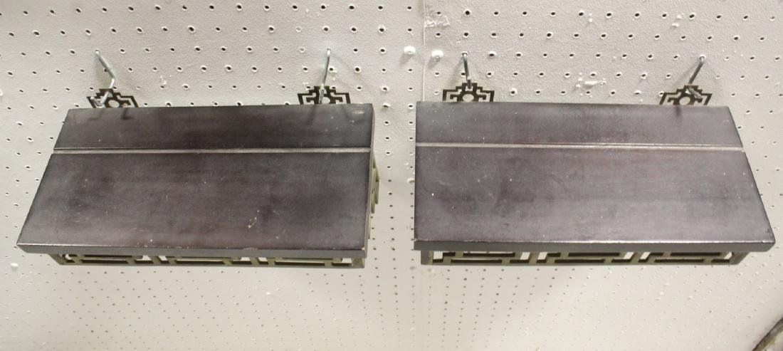 Pair Chinese rosewood and brass wall shelves - 6