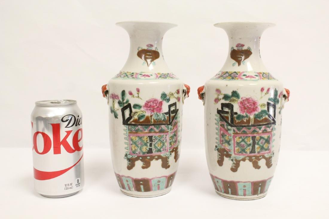 Pr Chinese antique famille rose porcelain vases