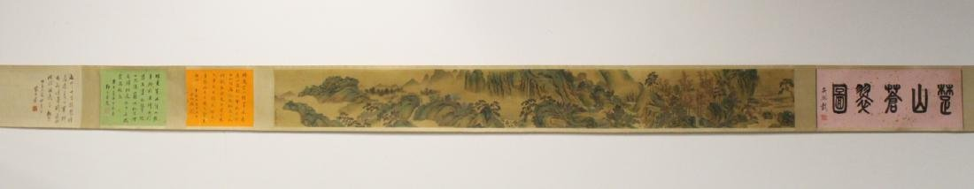 A very long Chinese watercolor scroll on silk