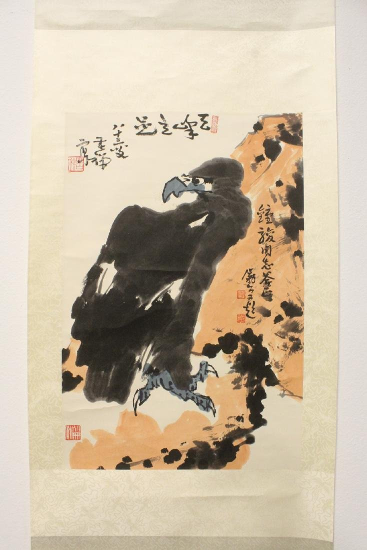 Large Chinese watercolor on rice paper scroll