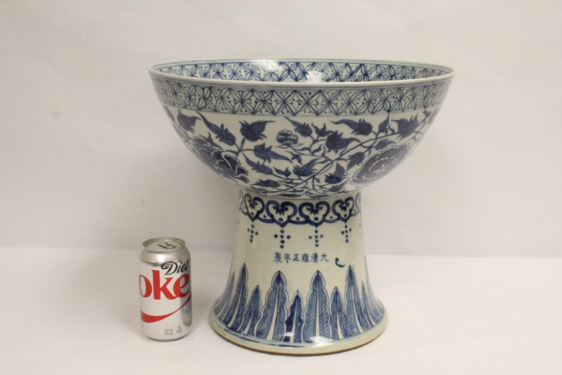 large Chinese vintage b&w porcelain stem bowl